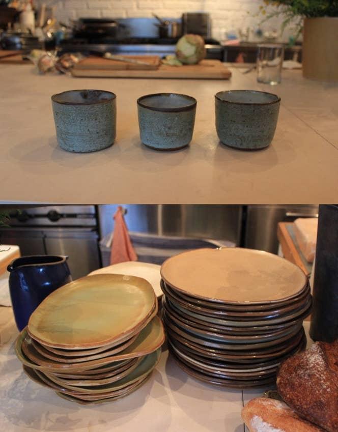 ▲お客が使うほとんどの皿は、ケイティ自身で製作したもの。