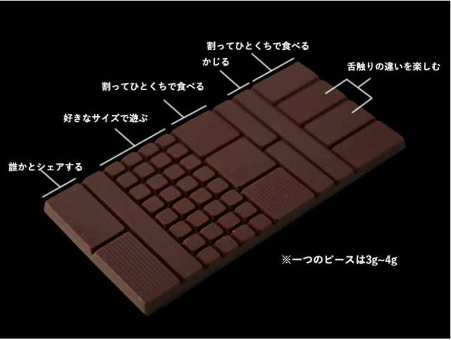 板チョコのデザインもMinimalのオリジナル。シーンにあった食べ方ができるようサイズに工夫がされている(Minimal HPより)