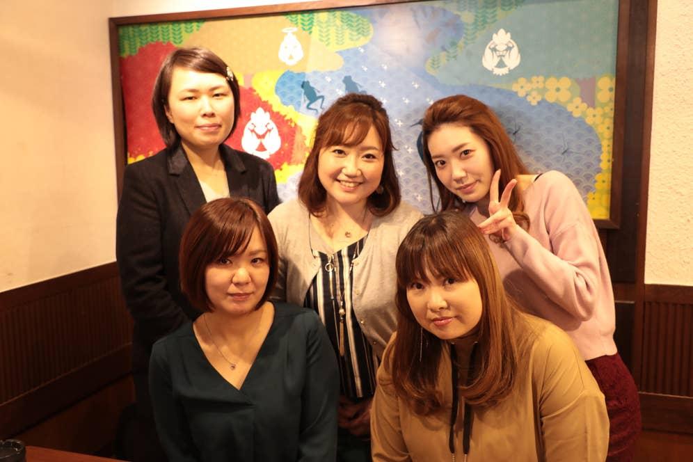 ▲プライベートでも「鳥メロ」を利用するという社員の皆さん。 左上から、中澤さん、北澤さん、永井さん。左下から、奈良さん、小平さん。 チームワークでもえあずさん越えを狙います!