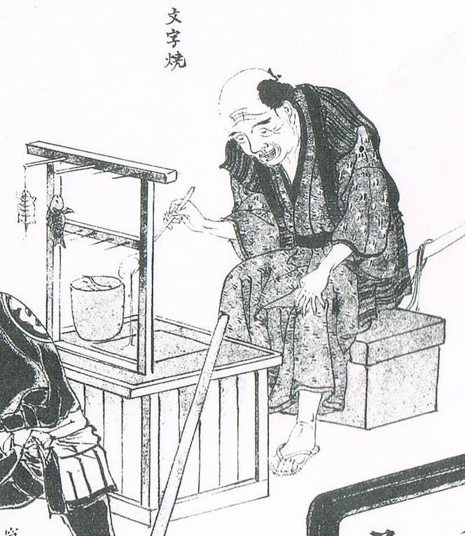 『風俗画報』に掲載された文字焼屋台(注1)