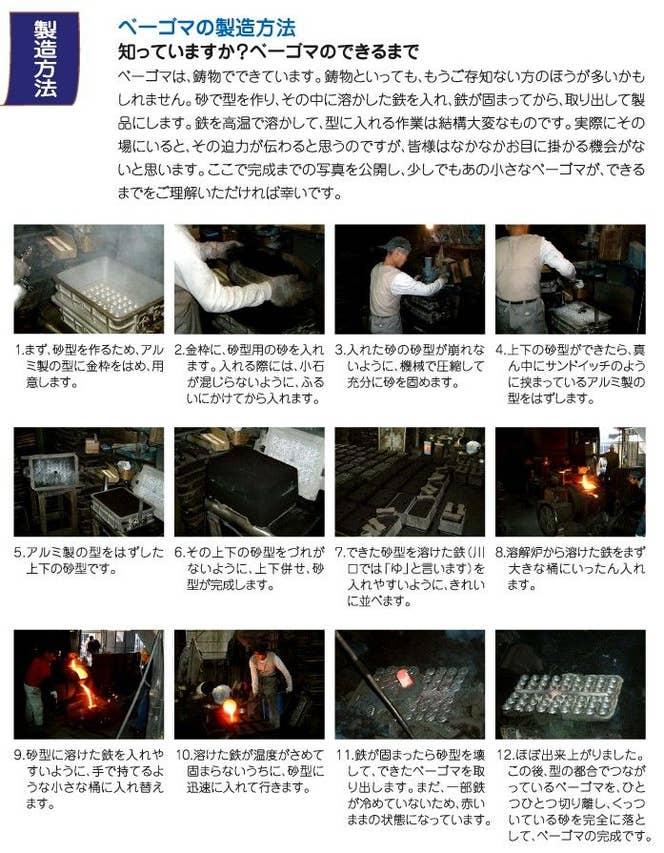 ベーゴマの製造方法 日三鋳造所様の公式サイトより引用