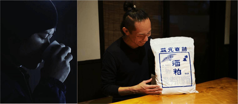 """左:地元熊本の酒蔵「瑞鷹」常務取締役の吉村謙太郎氏 右:""""もりたなか牛""""に与える「瑞鷹」が誇る酒粕"""