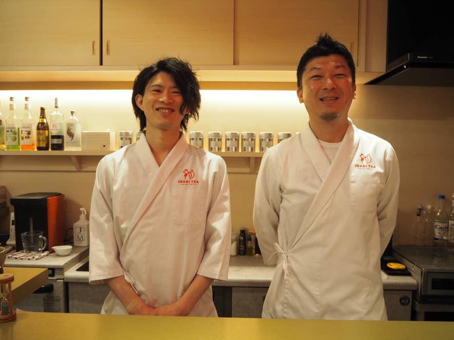 店主の重松弘毅さん(写真右)とデザートメニューを監修したパティシエの田中俊大さん(写真左)